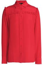 Maje | Maje Woman Ruffle-trimmed Silk Crepe De Chine Shirt Red Size 2 | Clouty