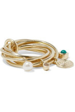 Elizabeth And James | Elizabeth And James Woman Gold-tone, Crystal, Faux Pearl And Stone Ring Gold Size 7 | Clouty