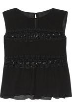 Anna Sui | Anna Sui Woman Lace-paneled Plisse-chiffon Top Black Size L | Clouty