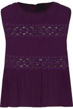 Anna Sui | Anna Sui Woman Lace-paneled Plisse-chiffon Top Grape Size L | Clouty