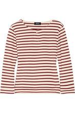 A.P.C. | A.p.c. Woman Veronica Striped Cotton-jersey Top Burgundy Size XS | Clouty