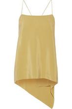 Theory   Theory Woman Asymmetric Draped Washed-silk Camisole Yellow Size L   Clouty