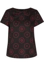 A.P.C. | A.p.c. Woman Lace-up Printed Cotton-blend Canvas Top Burgundy Size 38 | Clouty