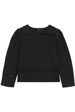 Isabel Marant | Isabel Marant Woman Rifen Open Knit-trimmed Linen And Cotton-blend Top Black Size 36 | Clouty