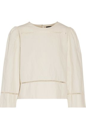 Isabel Marant | Isabel Marant Woman Rifen Open Knit-trimmed Linen And Cotton-blend Top Ivory Size 34 | Clouty