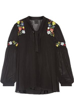 Anna Sui | Anna Sui Woman Garden Embroidered Georgette Blouse Black Size S | Clouty