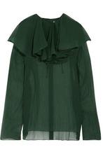 NINA RICCI | Nina Ricci Woman Layered Silk Top Emerald Size 40 | Clouty