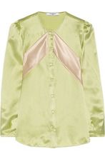 GIVENCHY | Givenchy Woman Silk-satin Blouse With Contrast Bands Mint Size 34 | Clouty