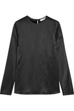 GIVENCHY | Givenchy Woman Open-sleeved Top In Black Silk-satin Black Size 34 | Clouty
