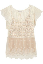 Stella McCartney | Stella Mccartney Woman Lace And Embroidered Tulle Blouse Ivory Size 40 | Clouty