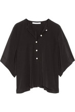 GIVENCHY | Givenchy Woman Faux Pearl-embellished Silk-satin Top Black Size 34 | Clouty