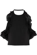 Badgley Mischka   Badgley Mischka Woman Ruffled Silk-organza And Stretch-cady Halterneck Top Black Size 12   Clouty