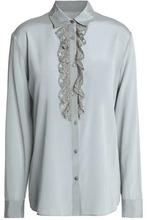 Missoni | Missoni Woman Metallic Crochet-trimmed Silk-blend Crepe De Chine Shirt Stone Size 40 | Clouty