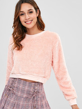 Zaful | Crewneck Fluffy Cropped Sweatshirt | Clouty