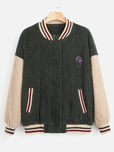 Zaful   Snap Button Striped Corduroy Jacket   Clouty