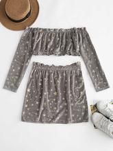 Zaful   ZAFUL Off Shoulder Star Pattern Skirt Set   Clouty