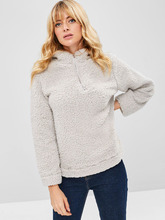 Zaful | Fluffy Fleece Pullover Hoodie | Clouty