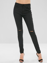 Zaful   Ripped Skinny Pants with Pocket   Clouty