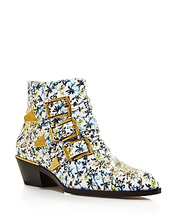 Chloé | Chloe Women's Susan Studded Floral Print Leather Booties | Clouty