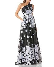 Carmen Marc Valvo | Carmen Marc Valvo One-Shoulder Floral Organza Ball Gown | Clouty