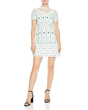 Sandro | Sandro Benoite Embroidered & Topstitched A-Line Dress | Clouty