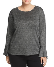 Michael Michael Kors | Michael Michael Kors Plus Metallic Bell Sleeve Top | Clouty