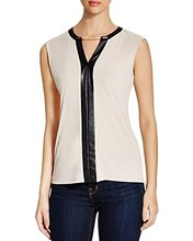 Calvin Klein | Calvin Klein Chain & Faux Leather Trimmed Top | Clouty