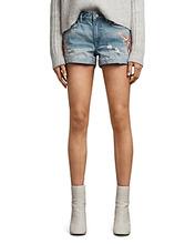 AllSaints | Allsaints Pam Birds Embroidered Denim Shorts in Indigo Blue | Clouty