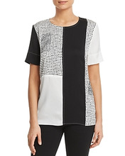 Donna Karan | Donna Karan New York Embellished Color-Block Top | Clouty