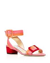Jimmy Choo | Jimmy Choo Women's Dacha 35 Suede Color-Block Block Heel Sandals | Clouty