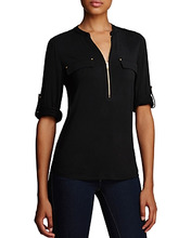 Calvin Klein | Calvin Klein Zip Front Roll Sleeve Knit Blouse | Clouty