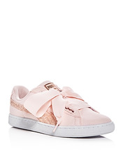 Puma | Puma Women's Basket Heart Canvas & Glitter Lace Up Sneakers | Clouty
