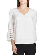 Calvin Klein | Calvin Klein Embroidered Stripe Trim Top | Clouty