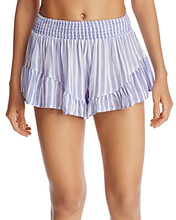 Surf Gypsy | Surf Gypsy Striped Ruffle Swim Cover-Up Shorts | Clouty