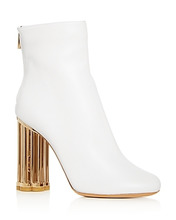 SALVATORE FERRAGAMO | Salvatore Ferragamo Women's Coriano Leather Floral Heel Booties | Clouty