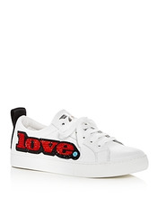 Marc Jacobs | Marc Jacobs Women's Empire Love Embellished Leather Lace Up Sneakers | Clouty