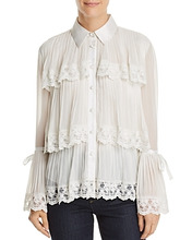 Alice + Olivia | Alice + Olivia Kartwright Pleated Tiered Blouse | Clouty