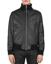 The Kooples | The Kooples Ribbed-Trim Leather Jacket | Clouty