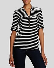 Calvin Klein | Calvin Klein Striped Zip Front Roll Sleeve Knit Blouse | Clouty