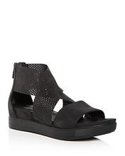 Eileen Fisher | Eileen Fisher Women's Perforated Nubuck Leather Crisscross Platform Sandals | Clouty