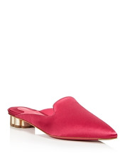 SALVATORE FERRAGAMO | Salvatore Ferragamo Women's Satin Pointed Toe Floral Heel Mules | Clouty