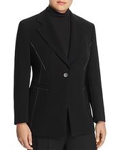 Marina Rinaldi   Marina Rinaldi Carato Single-Button Contrast Stitched Blazer   Clouty