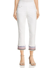 Jag Jeans | Jag Jeans Peri Embroidered Cuff Straight Ankle Jeans in White | Clouty