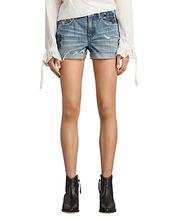 AllSaints | Allsaints Pam Rose Denim Shorts in Indigo Blue | Clouty