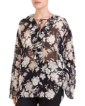 The Kooples | The Kooples French Baroque Ruffled Floral-Print Top | Clouty