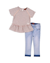 7 For All Mankind | 7 For All Mankind Girls' Striped Ruffled Tee & Light-Wash Skinny Jeans Set - Baby | Clouty