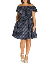 City Chic | City Chic Plus Sweet Polka-Dot Off-the-Shoulder Dress | Clouty