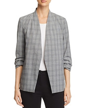 Kenneth Cole | Kenneth Cole Glen Plaid Open Ruched-Sleeve Blazer | Clouty