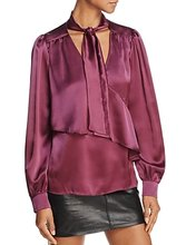 PARKER | Parker Kinsley Ruffled Tie-Neck Silk Top | Clouty