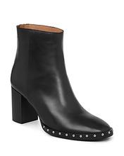 AllSaints | Allsaints Women's Inez Leather Studded Block Heel Booties | Clouty